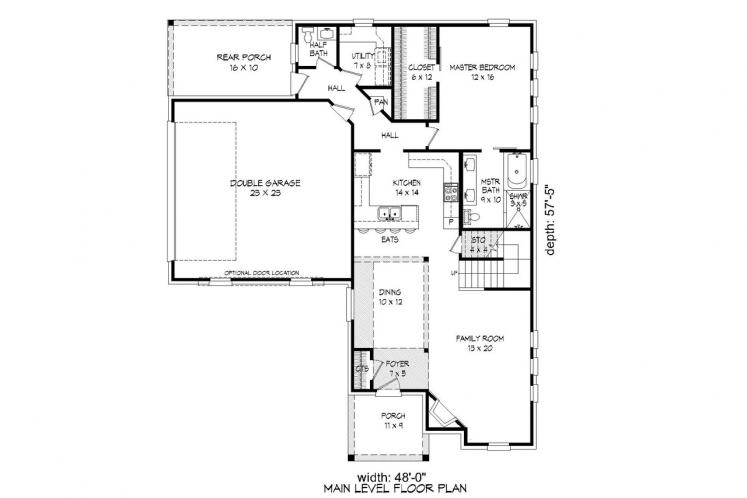 Traditional House Plan -  51901 - 1st Floor Plan