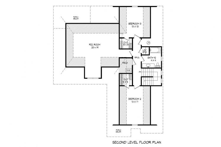 Southern House Plan -  51901 - 2nd Floor Plan
