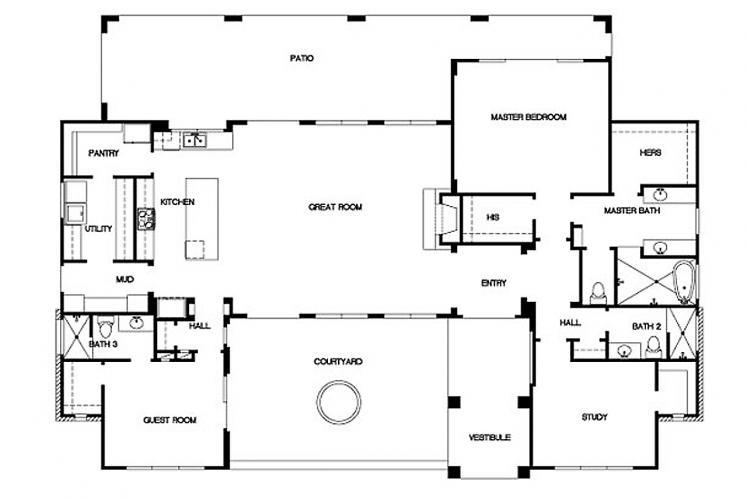 Spanish House Plan - Pomona 52282 - 1st Floor Plan
