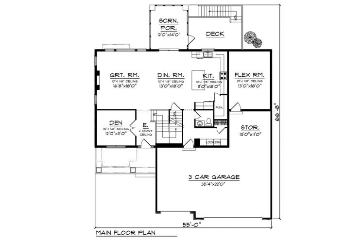 Traditional House Plan -  52308 - 1st Floor Plan