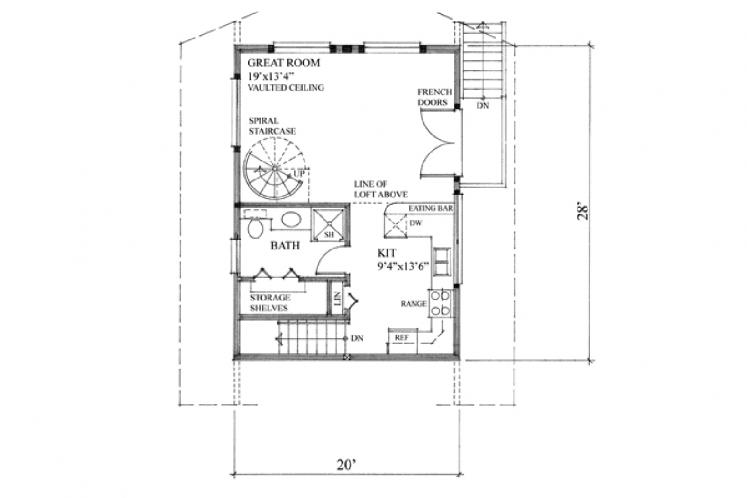 Cottage House Plan - Seacom 52555 - 1st Floor Plan