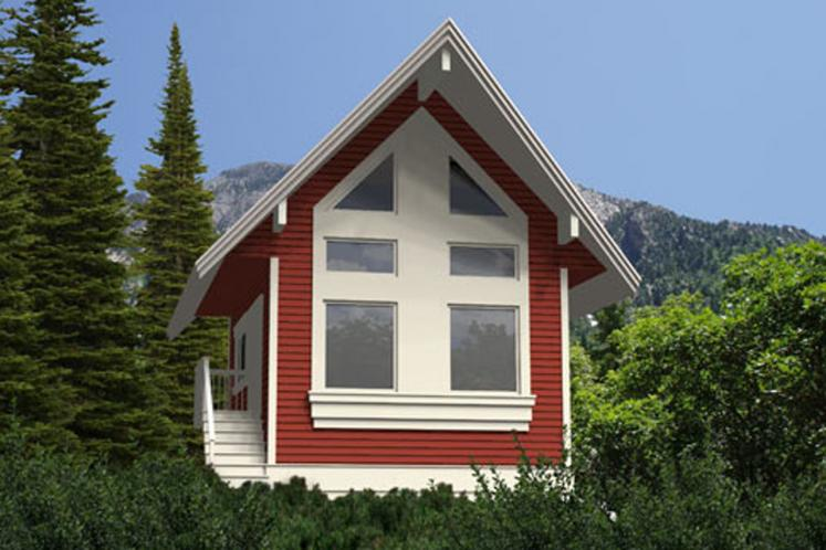 A-Frame House Plan - Seacom 52555 - Rear Exterior