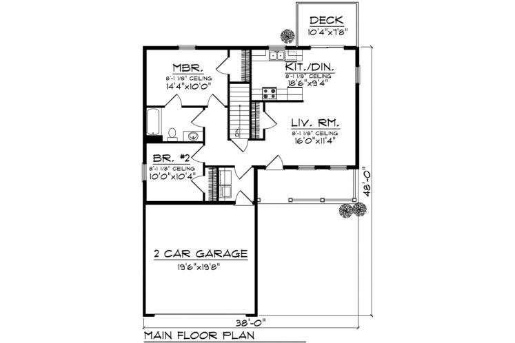 Ranch House Plan -  52674 - 1st Floor Plan