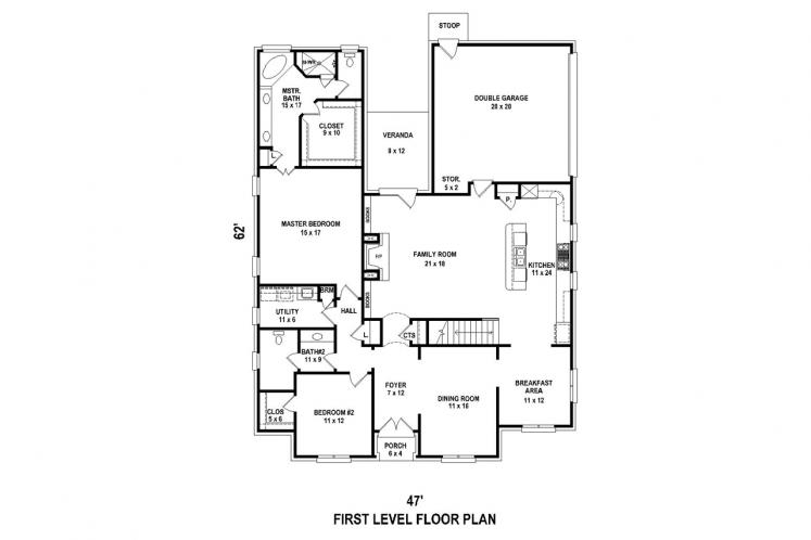 Classic House Plan -  52710 - 1st Floor Plan
