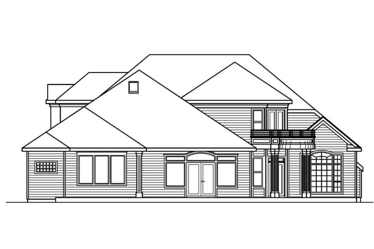 Classic House Plan - Stonehaven 52727 - Rear Exterior
