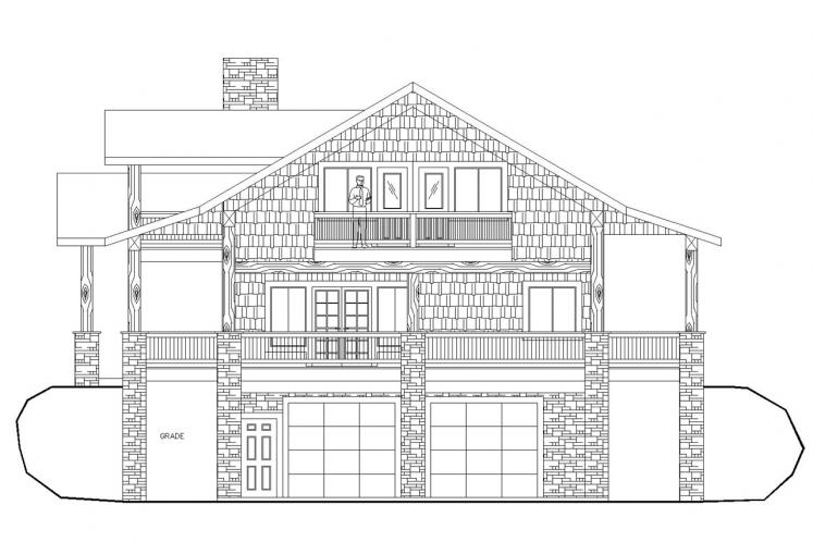 Lodge Style House Plan -  52774 - Right Exterior