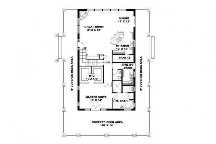 Country House Plan -  52774 - 1st Floor Plan