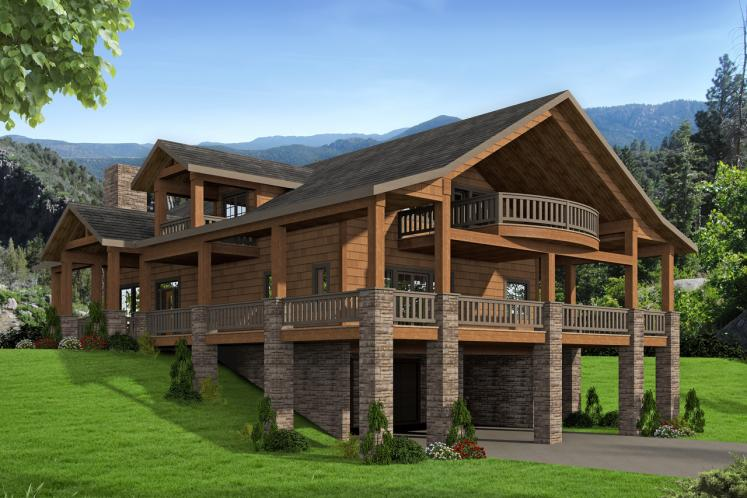 Lodge Style House Plan -  52774 - Front Exterior