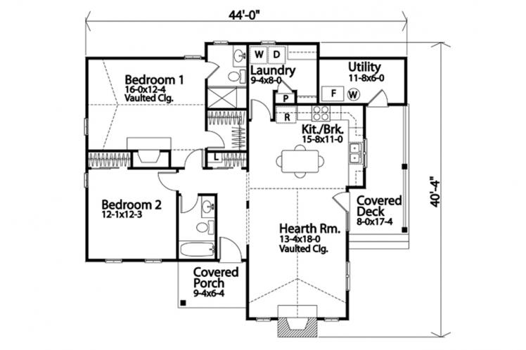 Cottage House Plan -  52797 - 1st Floor Plan