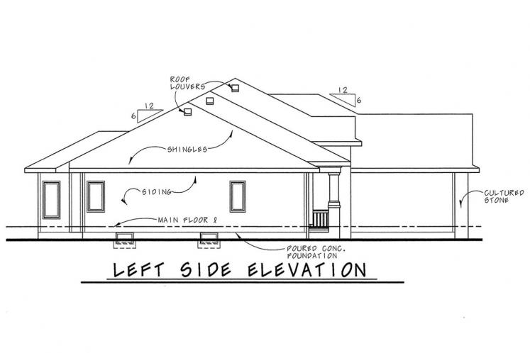 Country House Plan - Cotter 52810 - Left Exterior