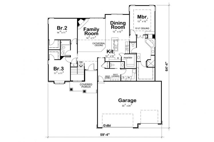 Country House Plan - Cotter 52810 - 1st Floor Plan