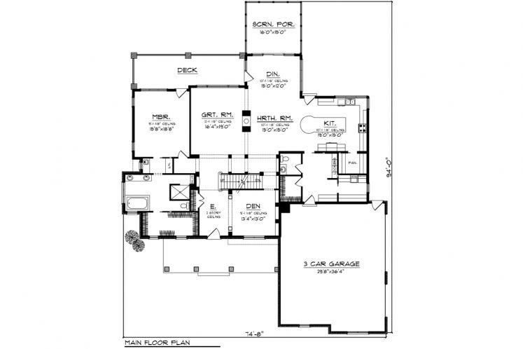 Country House Plan -  52823 - 1st Floor Plan