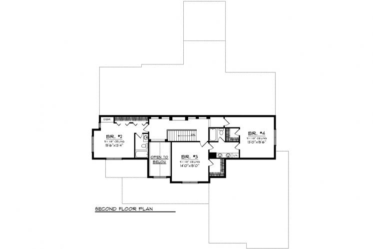 Traditional House Plan -  52823 - 2nd Floor Plan
