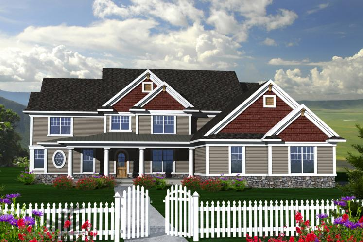Traditional House Plan -  52823 - Front Exterior