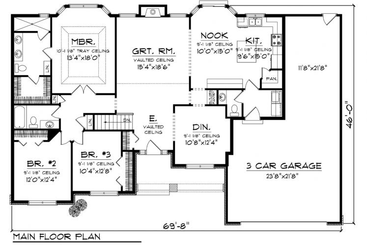 Ranch House Plan -  52881 - 1st Floor Plan