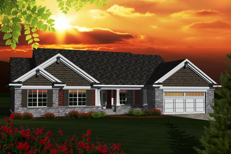 Ranch House Plan -  52881 - Front Exterior