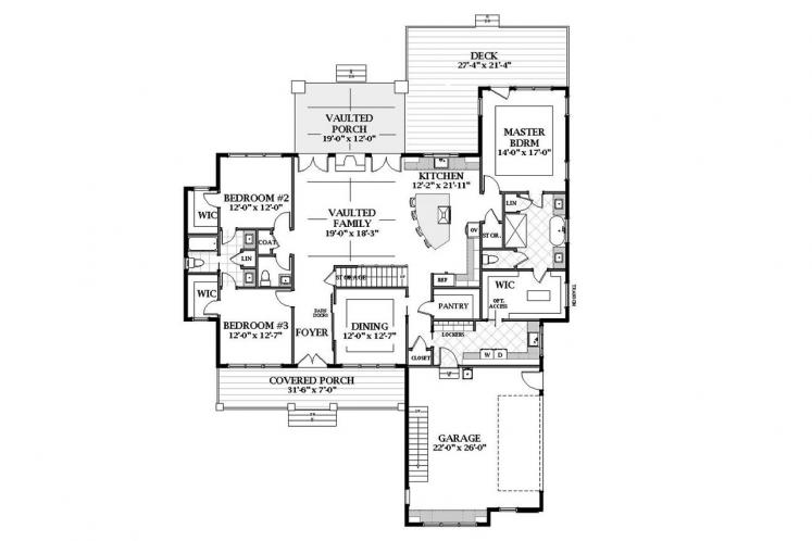 Farmhouse House Plan - Oak Grove 52946 - 1st Floor Plan