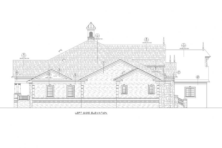 Traditional House Plan - Rocky Top Manor 53023 - Left Exterior