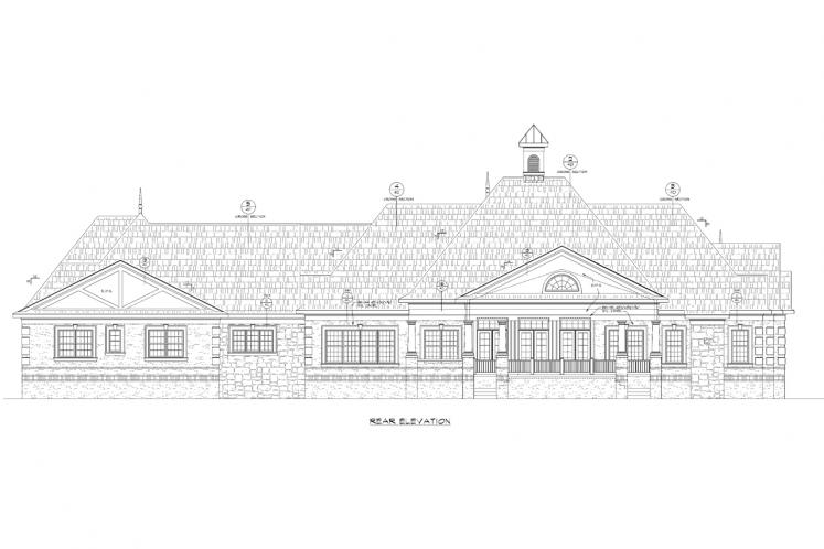 Country House Plan - Rocky Top Manor 53023 - Rear Exterior