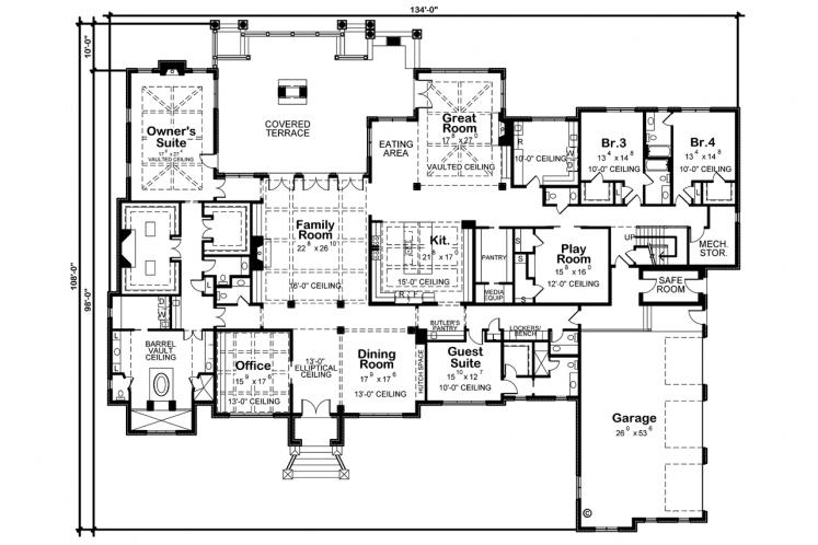 Country House Plan - Rocky Top Manor 53023 - 1st Floor Plan