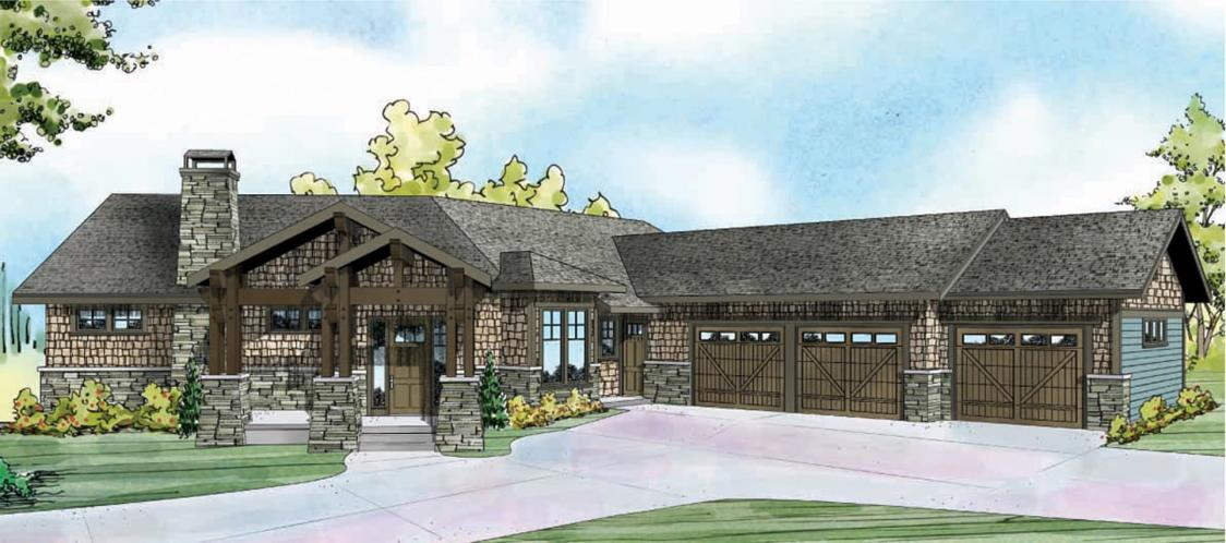 Lodge Style House Plan - Northbrook 53221 - Front Exterior