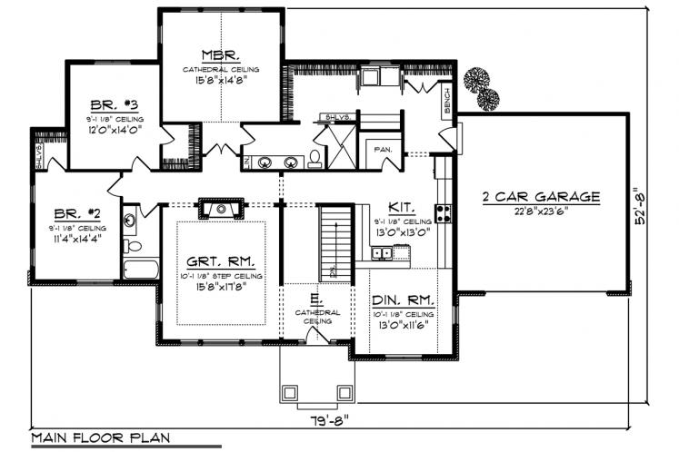 Traditional House Plan -  53301 - 1st Floor Plan