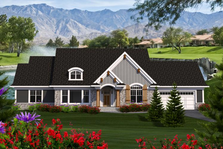 Ranch House Plan -  53301 - Front Exterior