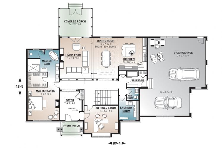 Country House Plan - Randolf 53460 - 1st Floor Plan