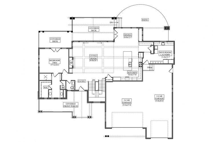 Craftsman House Plan - Gladewater 53977 - 1st Floor Plan