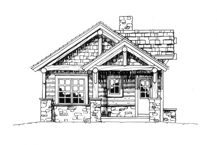 Lodge Style House Plan - Cub Creek 54439 - Left Exterior
