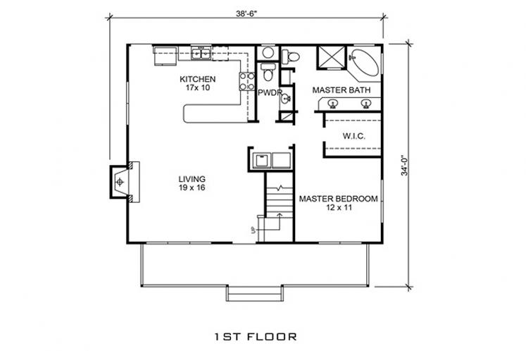 Craftsman House Plan - Cadiz 54657 - 1st Floor Plan