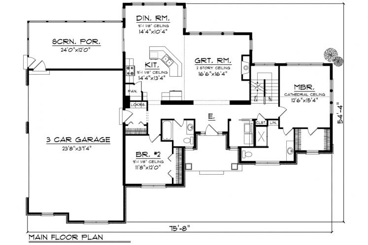 Craftsman House Plan -  54681 - 1st Floor Plan