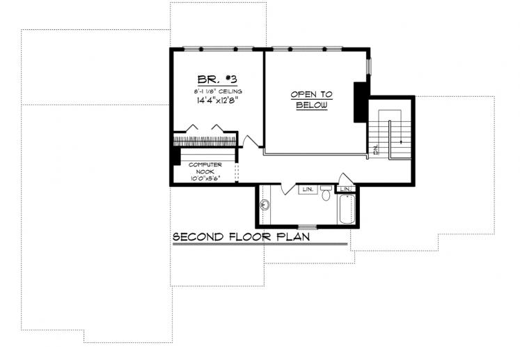 Ranch House Plan -  54681 - 2nd Floor Plan
