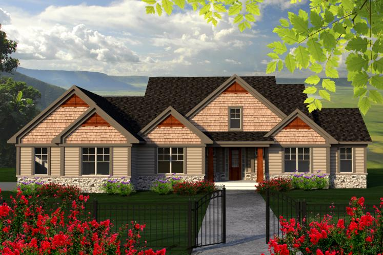 Craftsman House Plan -  54681 - Front Exterior