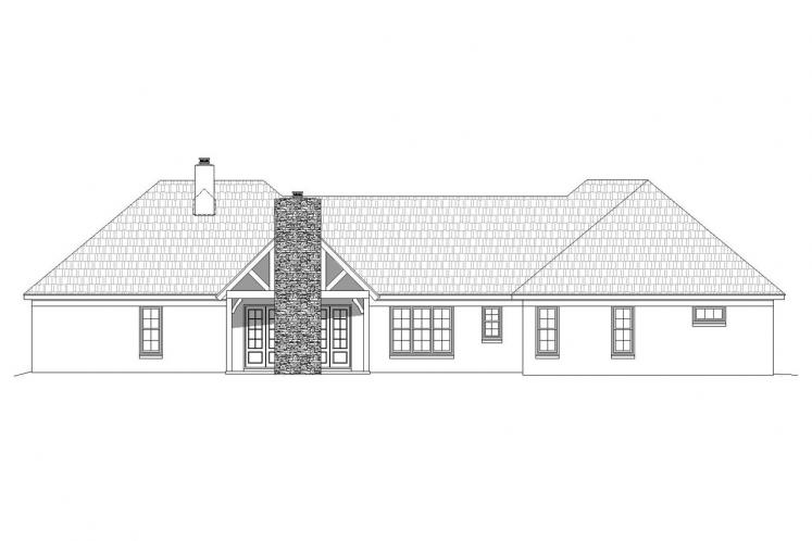European House Plan -  54861 - Rear Exterior