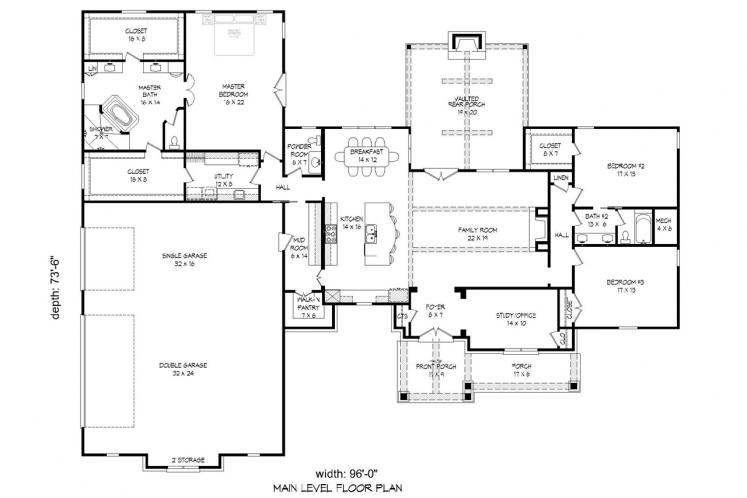 European House Plan -  54861 - 1st Floor Plan