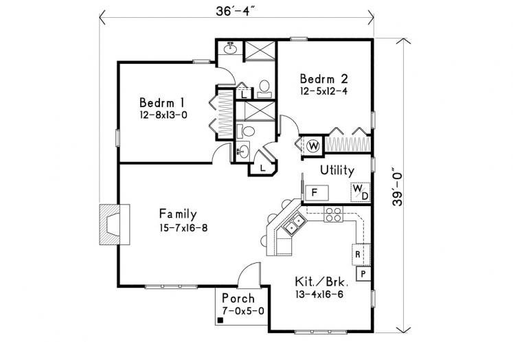Country House Plan -  54902 - 1st Floor Plan