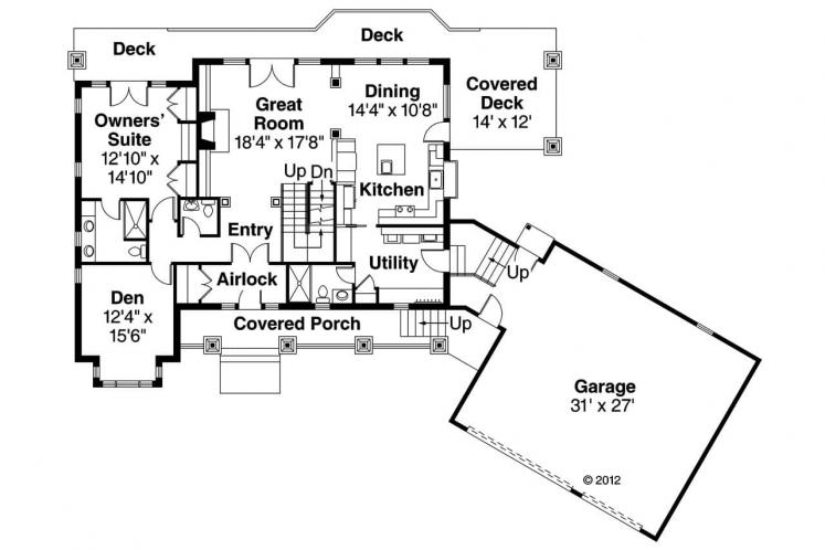 Bungalow House Plan - Cedarbrook 55006 - 1st Floor Plan