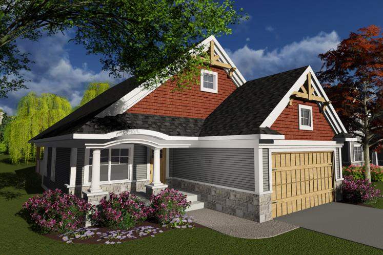 Craftsman House Plan -  55074 - Front Exterior
