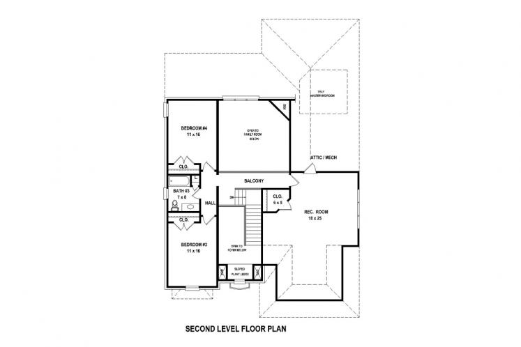 Traditional House Plan -  55165 - 2nd Floor Plan