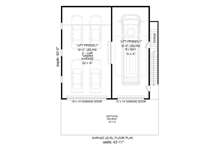Southwest Garage Plan -  55179 - 1st Floor Plan