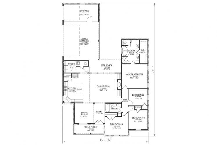 Classic House Plan - Evergreen 55193 - 1st Floor Plan