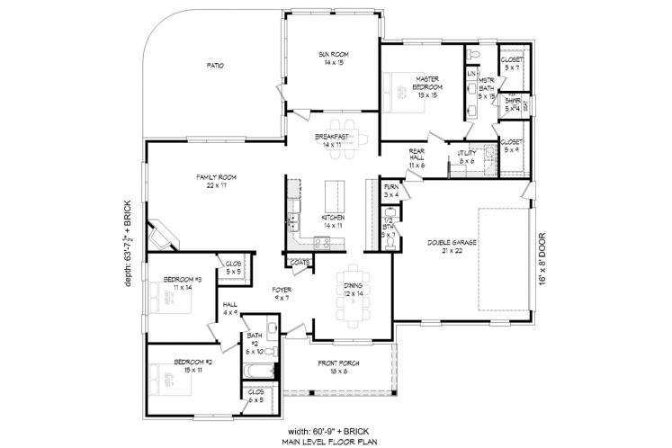 Colonial House Plan - Trotter Place 55226 - 1st Floor Plan