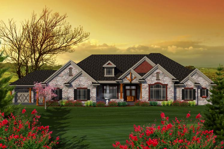 Craftsman House Plan -  55273 - Front Exterior