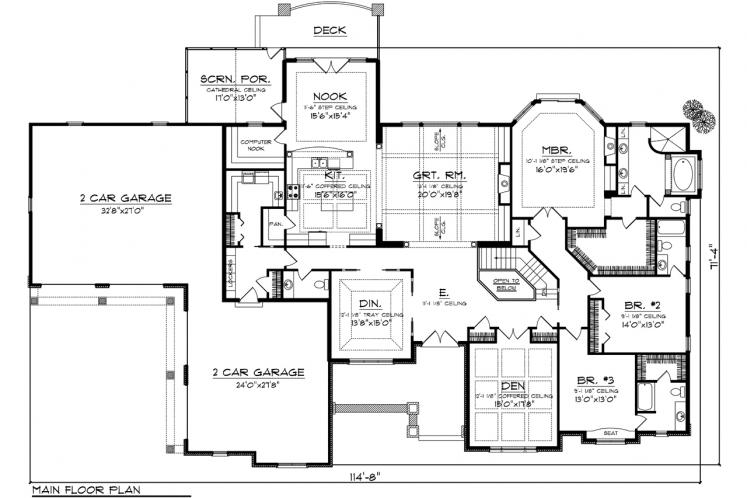 Ranch House Plan -  55273 - 1st Floor Plan