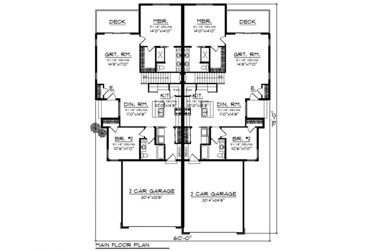Traditional Multi-family Plan -  55364 - 1st Floor Plan