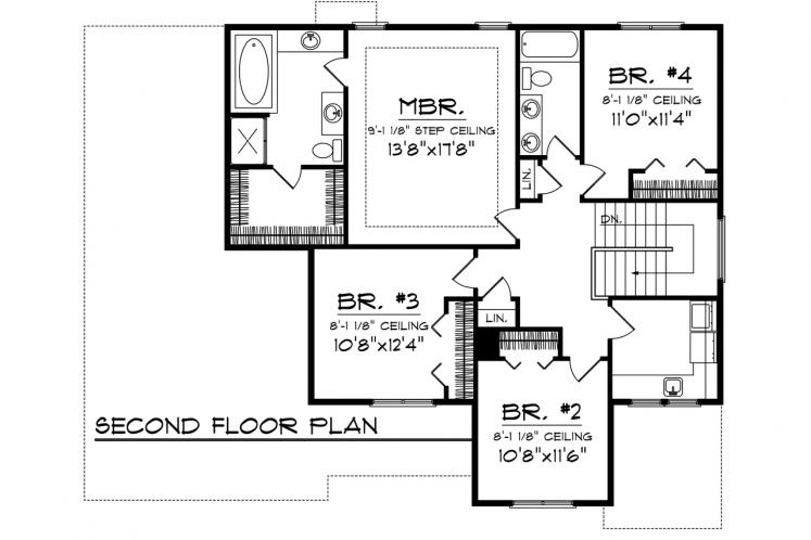 Classic House Plan -  55462 - 2nd Floor Plan