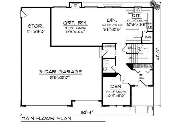 Traditional House Plan -  55462 - 1st Floor Plan