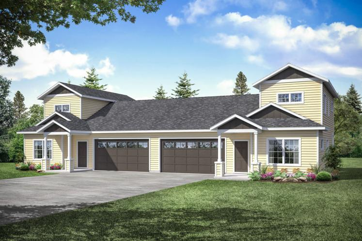 Cottage Multi-family Plan - Culberson 55588 - Front Exterior