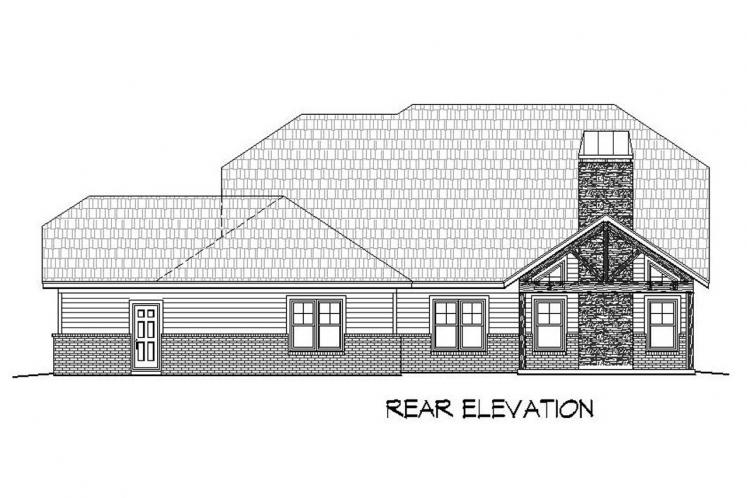 Bungalow House Plan -  55695 - Rear Exterior